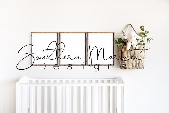 16x20 Nursery Sign Mock Up Wood Frame Styled Photography