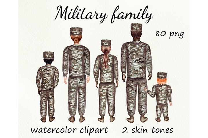Military Family watercolor clipart