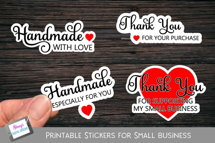 Printable Small Business Stickers - Handmade and Thank You