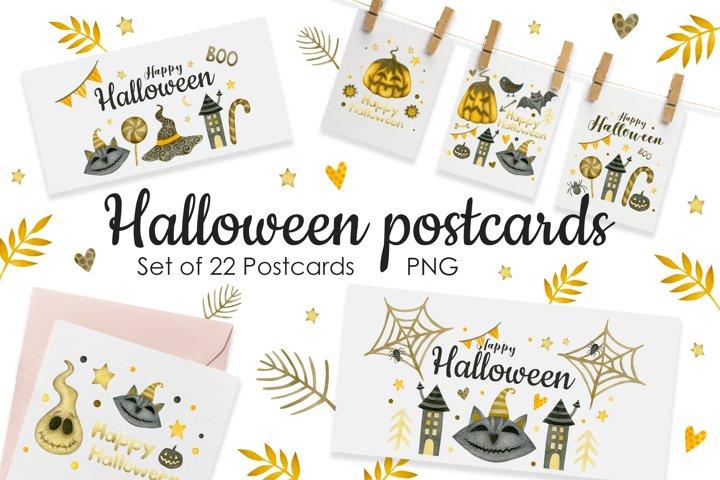 Watercolor Halloween Postcards.