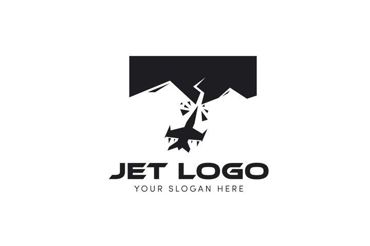Jet logo crash into the mountain logo