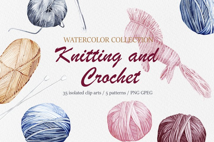Knitting and Crochet. Watercolor collection