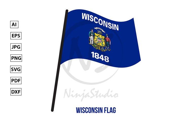 Wisconsin U.S. State Flag Waving Vector