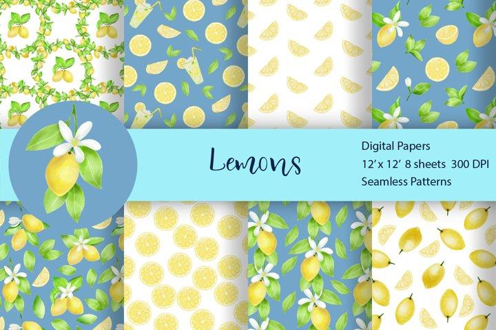 Lemon Watercolor Seamless Pattern Set