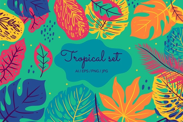 Tropical set of seamless patterns with leaves and leopards.