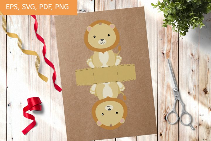 Cute Gift Package Lion Template SVG, Gift Box SVG