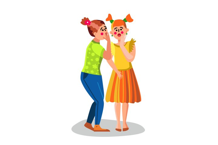 Girl Whispering Secret Talking News To Ear Vector
