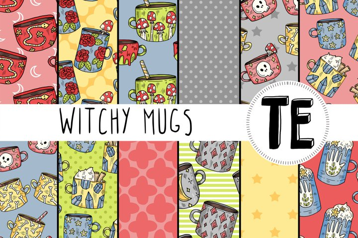 12 Witchy Mugs Digital Papers - Halloween Seamless Patterns