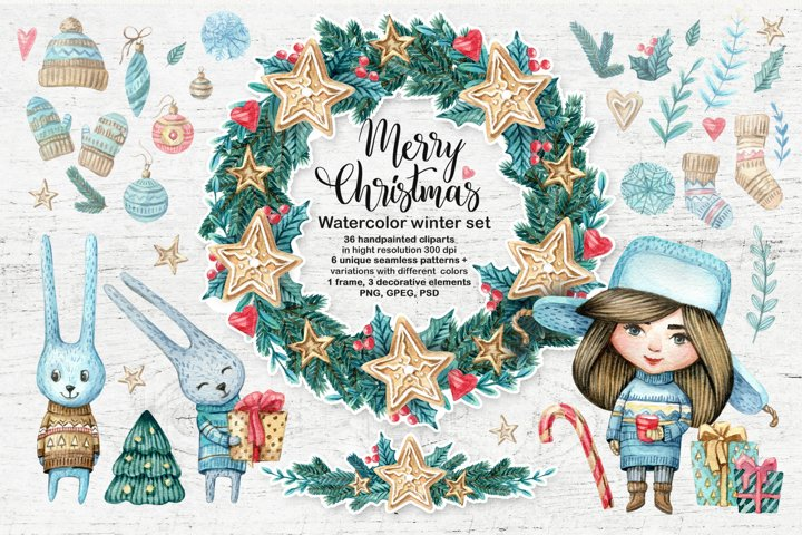 Watercolor Christmas set. Winter holiday clipart