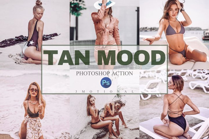 9 Tan Mood Photoshop Actions, ACR, LUT Presets