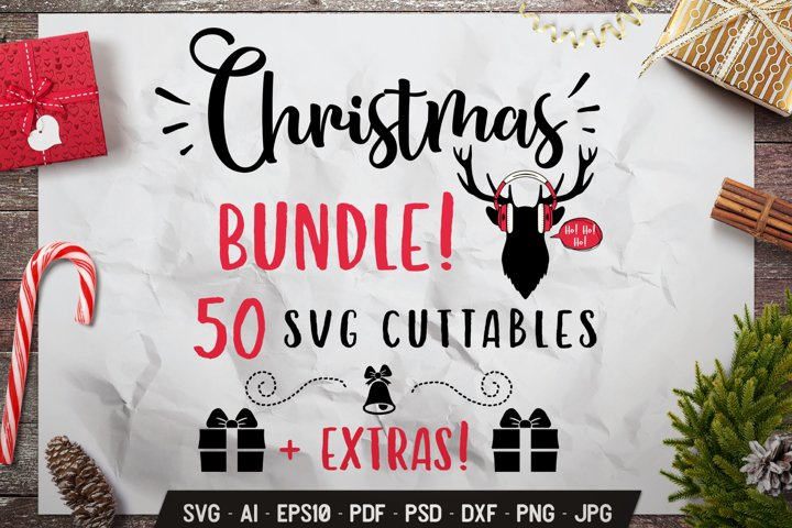 Christmas SVG Bundle 50 Quotes Winter Designs & Extras DXF