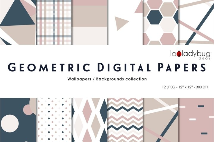 Neutral colors triangles digital papers. Geometric wallpaper