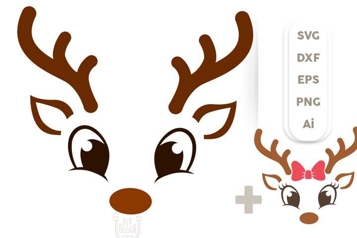 Christmas SVG - Cute Reindeers SVG , Boy &Girl Reindeer face