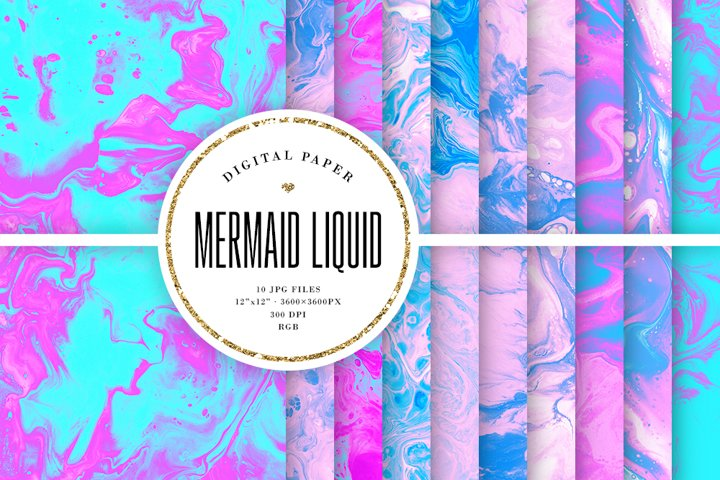 Pink & Blue Ink Liquid Backgrounds - Mermaid Colors