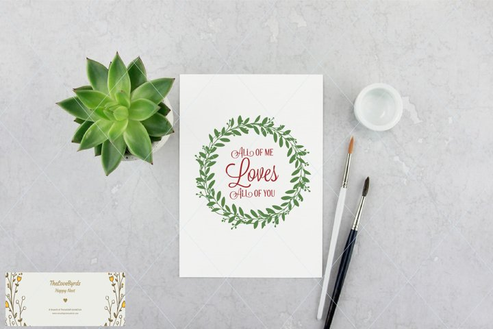 Hand drawn svg, wreath svg, all of me loves all of you svg