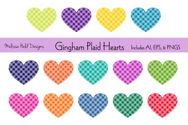 Gingham Plaid Hearts