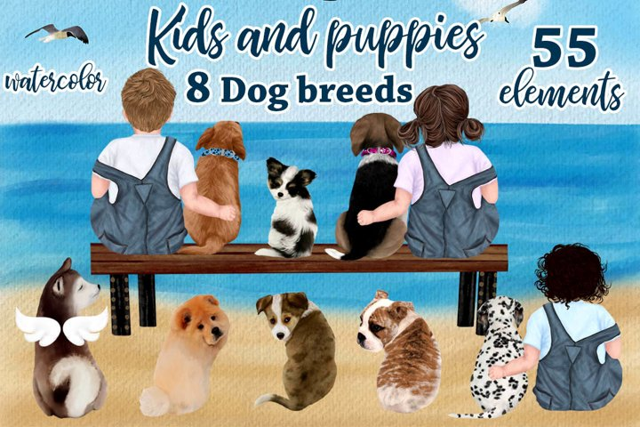 Kids and Puppies Dog breeds Dogs for mugs,Dog graphics