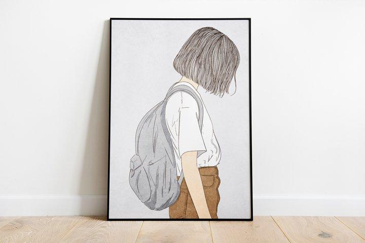 Wall art Short hair girl carrying bag