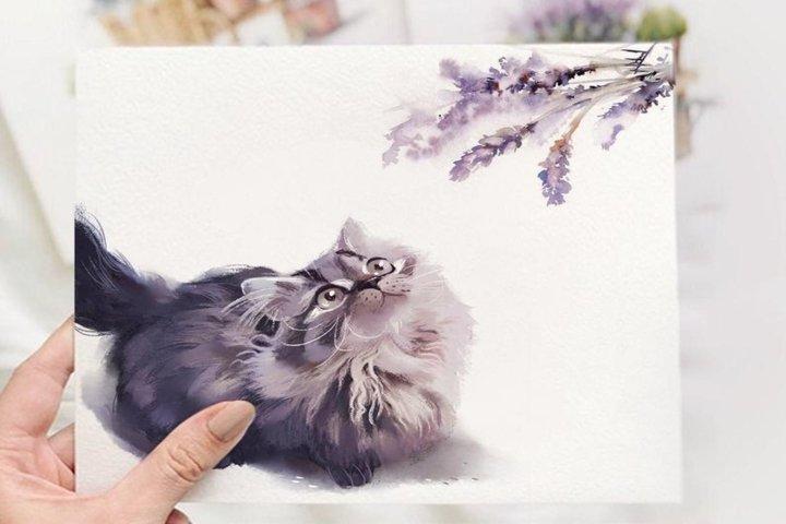 Lavender botanical clipart - Cute kitten nursery wall art