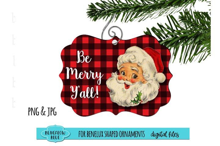 Retro Santa Buffalo Plaid Benelux Ornament Design Download