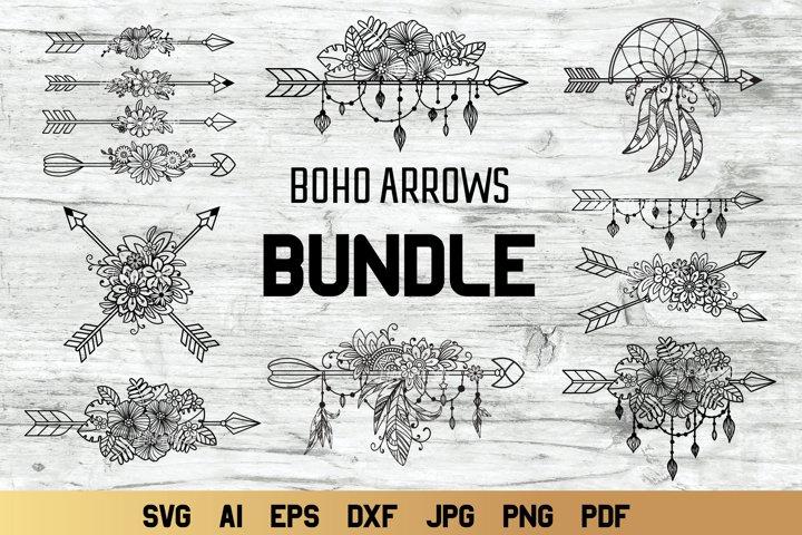 Boho Arrow Bundle svg | Floral Arrows svg | Boho Cut File