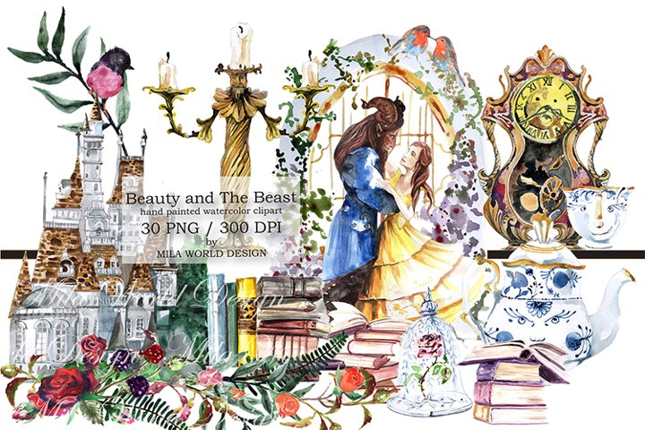 Beauty and The Beast Watercolor Clip Art