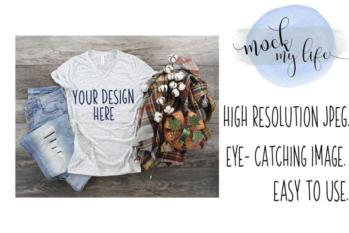 Mockup Bella Canvas Shirt / Fall Flat Lay / White Marble