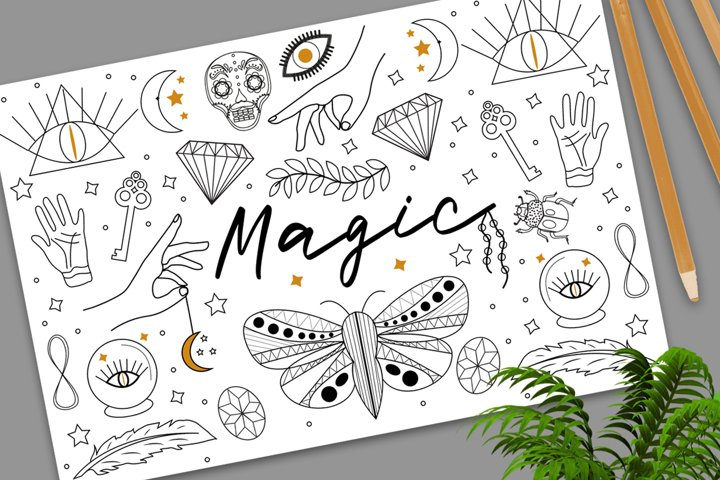 Magic Hand drawn, doodle, sketch line style set