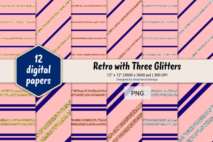 Pinstripes Retro with Three Glitters Color Combo #95