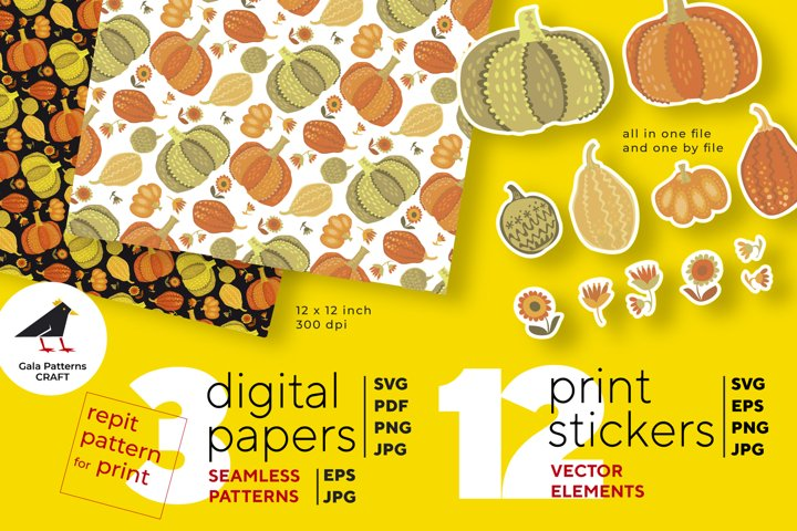 Pumpkin fun folk set of SVG, EPS, PNG stickers and patterns