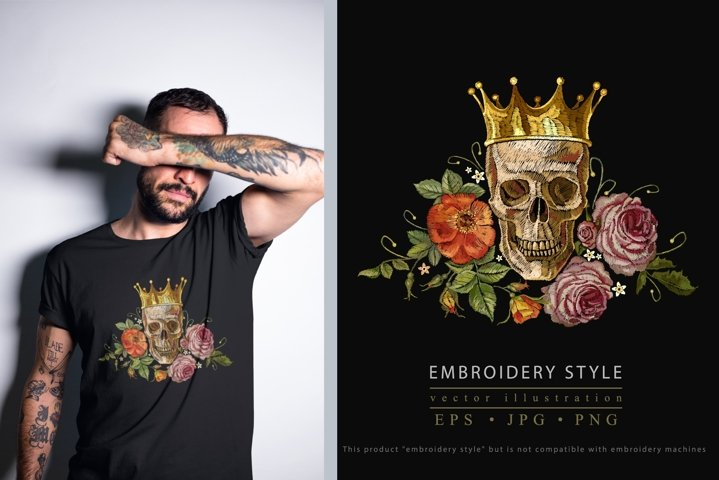 Embroidery style golden crown, skull and red roses