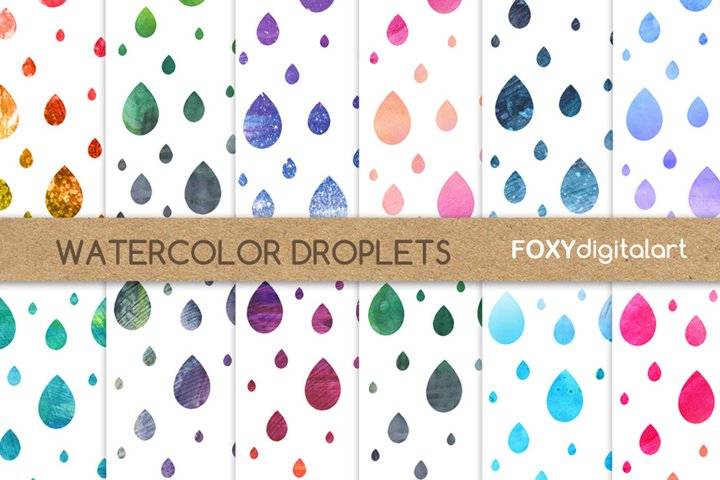 Digital Paper Watercolor Droplets Raindrops Background