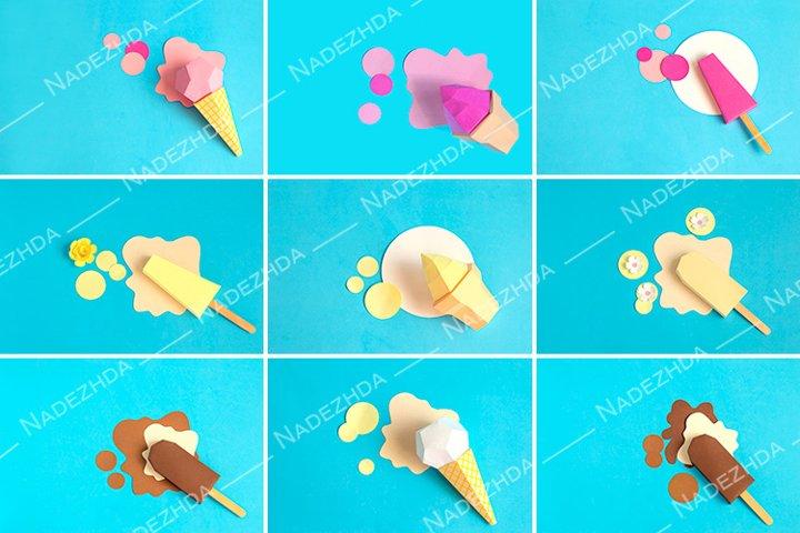 Various paper ice cream