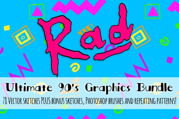 Super Rad 1990s Style Vector Sketch Pattern Kit