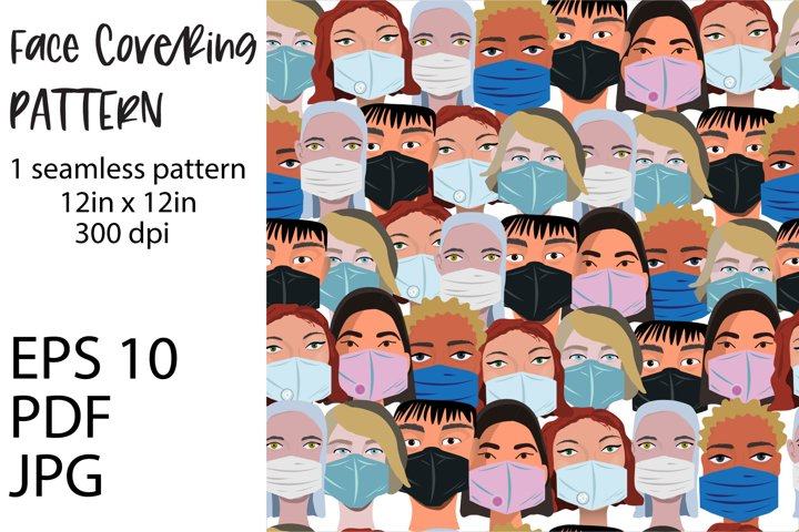 Face covering in crowded public places seamless pattern