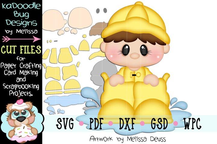 Rain Boot Boy Peeker Cut File - SVG PDF DXF GSD WPC