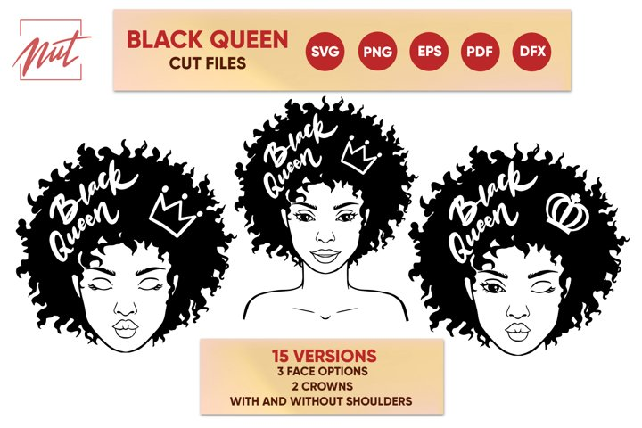Black woman svg, black queen crown, cut files