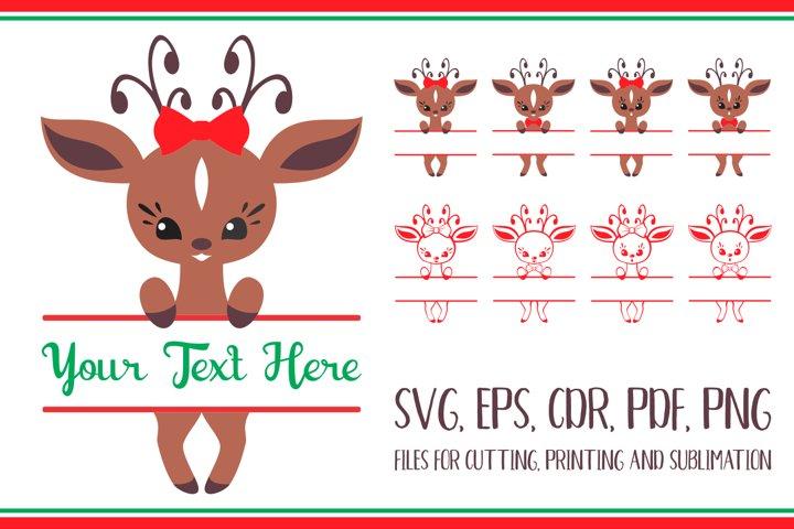 Christmas deer. Split for name Svg set