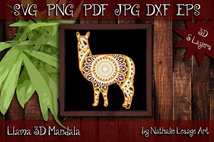 Llama 3D SVG Mandala 5 Layers Cutting File Farm Animal Ranch