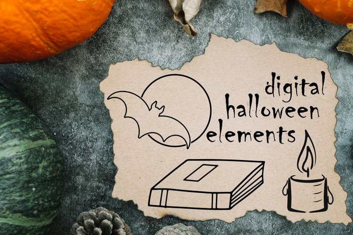 Doodle Halloween set. Digital elements