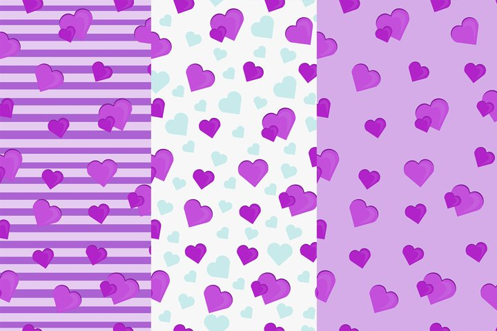 Set pattern with hearts Eps 10 JPEG