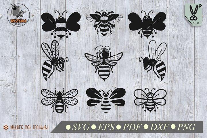 Bee SVG, 6 sets bee illustration caracter, honeey bee