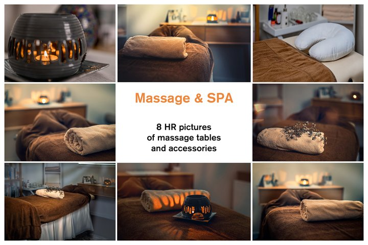 8 HR pictures of massage tables and accessories