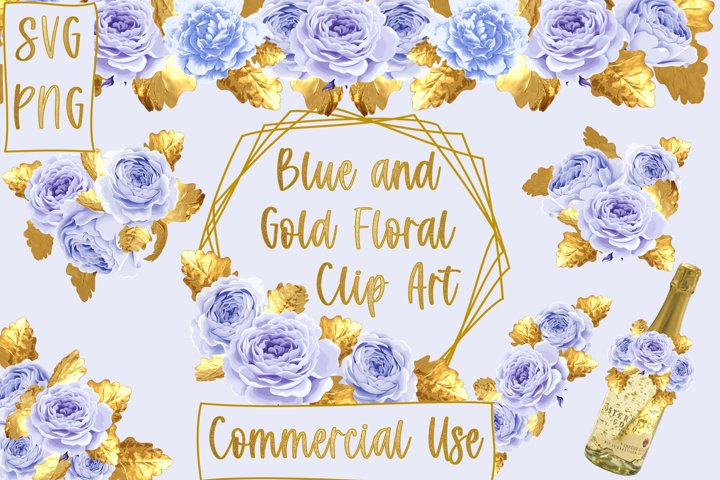 Blue and Gold Floral Clipart SVG and PNG