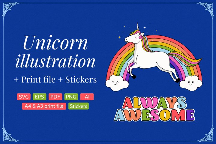 Unicorn Illustration with print files and stickers