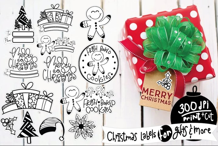 Christmas Stickers Holiday Labels Png bundle