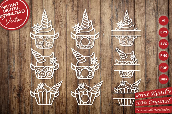 Unicorn Cupcakes Intricate Paper Cut Design - SVG Cut Files