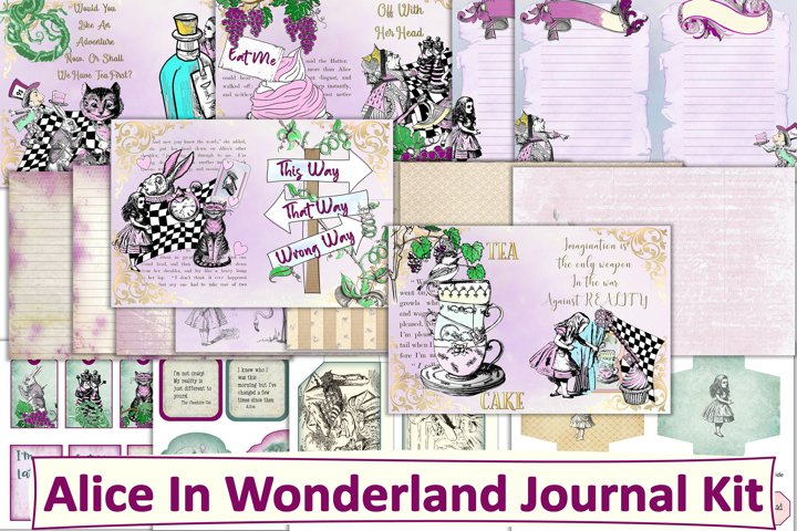 Vintage Alice In Wonderland Journal Kit JPEG, PDF PNG
