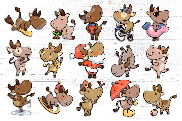 2021 Year of Ox, Cute Character Set Vector And Raster Clipar