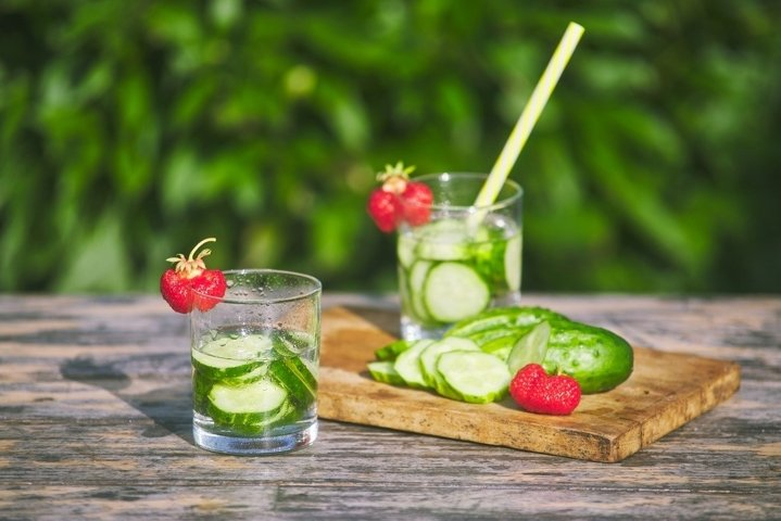Drink made from fresh chopped cucumbers with strawberries